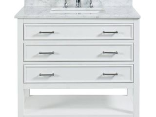 Tile Top Uptown 36 in  W x 22 in  D x 34 75 in  H Bath Vanity in Dove White with Marble Vanity Top in White with White Basin