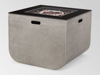 Adio Outdoor Modern Square Fire Pit by Christopher Knight Home   40 00  W x 20 00  l x 24 00  H  Retail 648 99