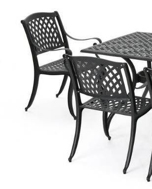 Cayman Outdoor antique matte black chairs only set of 2