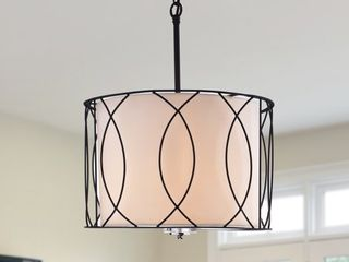 Arke Black Metal and Fabric 3 light Drum Pendant  Retail 153 88