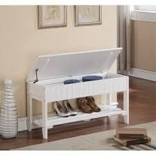 The Gray Barn Waggoner Solid Wood Shoe Bench white