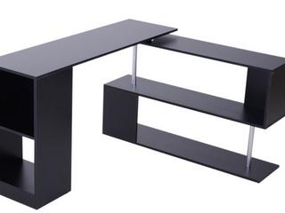 HomCom Modern l Shaped Rotating Computer Desk with Shelves   Black