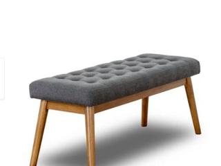 Mid Century Modern Rexton Grey Fabric Bench