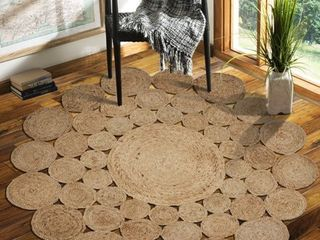 lR Home Natural Jute Hand Braided Floral Round Indoor Area Rug  8  x 8