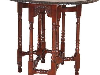 International Caravan Windsor Hand carved Drop leaf Oval Table  Retail 304 45