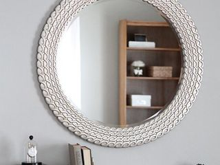 Marlia Brushed Silver and Gold Round link Wall Mirror  Retail 216 99