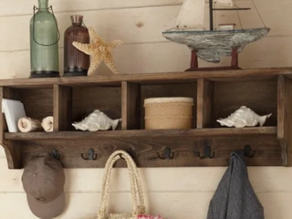 Carbon loft Kenyon 48 inch Natural Brown Metal Wooden Coat Hooks with Storage  Retail 227 49