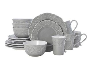 Pfaltzgraff Abby Gray 16 piece Dinnerware Set  Service for 4  Retail 83 99