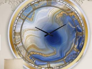 Designart  Ocean Blue Golden Marble   Modern wall clock  Retail 147 99