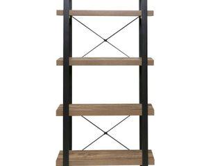 Bourbon Foundry 4 Tier Bookshelf  Wood and Black Steel  Retail 174 99