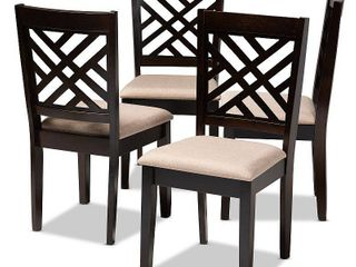 Set of 4 Caron Finished Wood Dining Chairs Brown   Baxton Studio