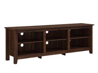 70  Wood Media TV Stand Storage Console   Dark Walnut