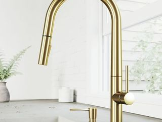 Greenwich Single Hole 1 Handle Pull Down Spray Kitchen Faucet and Soap Dispenser in Matte Brushed Gold Retail 245 49