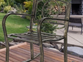 Outdoor Garden Accent Chair Iron Rocking Chair Gold Old  Retail 76 98