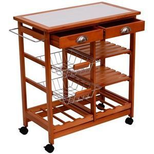 30  Wooden Rolling Kitchen Organizer Cart Tile Counter top With Basket Storage Wine Rack Retail 113 99