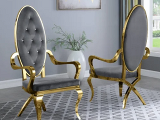 Best Quality Furniture Faux Crystal Side Chairs with Gold Stainless Steel  Set of 2  Retail 868 49
