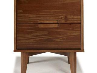Mid Century Modern 2 Drawer Wood Nightstand   Walnut