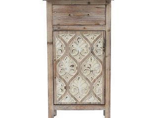 Damask Carved Wood 1 Door Accent Table  Retail 142 49