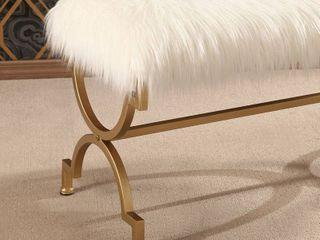 Abbyson Zoe White Faux Fur Iron Rectangle Bench Retail 141 00