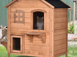 Pawhut Solid Wood Cat House 2 Stories