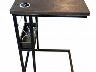 Eccostyle 13 75 in  W Brushed Brown 27 5 in  H Bamboo Steel C Table with Tray and Wireless USB Charging Station  Brushed Brown Matte
