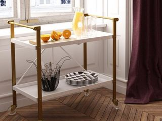 Trevia Folding Cart White   Cosmoliving by Cosmopolitan