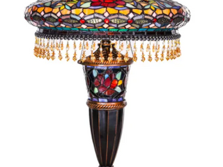 Gracewood Hollow lachmet Multicolored Stained Glass Table lamp  27 5 in    17 l x 17 W x 27 5 H Retail 325 06