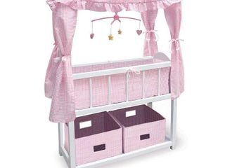 Badger Basket Canopy Doll Crib with Baskets  Bedding  and Mobile   White Pink