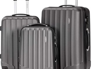 Color is Grey Do NOT Bid Further if you Wanted Yellow 3 Piece Set Suitcase Spinner Hardshell lightweight TSA lock  20    24    28  Retail 107 99