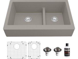 Karran Retrofit Farmhouse Quartz 34 in  Double Bowl 60 40 Sink Kit  Retail 653 99