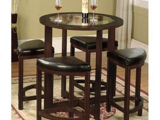 Roundhill Furniture Cylina Solid Wood Glass Top Round Counter Height Table  No Stools