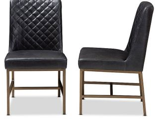 Baxton Studio Margaux Modern luxe Faux leather Upholstered Dining Chair  Black  Set of 2