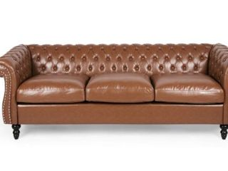 Silverdale Traditional Chesterfield Sofa  Cognac Brown  Missing Bolts