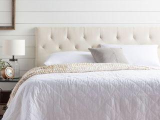 Brookside Emmie Adjustable Cream Queen Upholstered Headboard