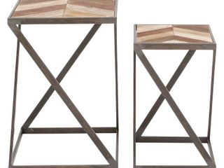 Metal and Wood Square Accent Tables Brown Black   Olivia  amp  May  Set of 2