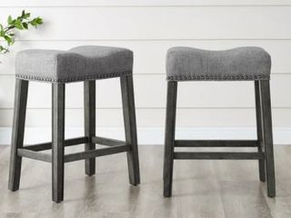 The Gray Barn Barish Backless Saddle Seat Counter Stools  Set of 2    Retail 119 99