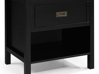 1 Drawer Classic Solid Wood Nightstand   Black