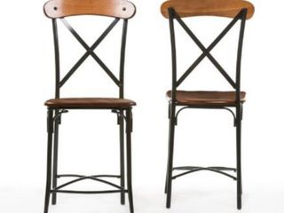 Industrial Medium Brown Wood 24  Counter Stool by Baxton Studio  Set of 2    Retail 118 49