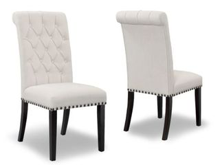 Aleki Beige Fabric Dining Chair Rolled Back with Tufted Buttons  Set of 2  Retail   264 99