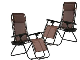 Folding Recliner Zero Gravity Chaise lounge Chairs  2  with Cup Holder Black  Scuffs Blemishes on Both Chairs  Retail 129 99