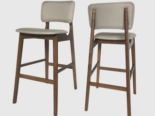 Fessenden 42  Wooden Bar Chair with Fabric Seats  Set of 2  by Christopher Knight Home   Retail 196 49