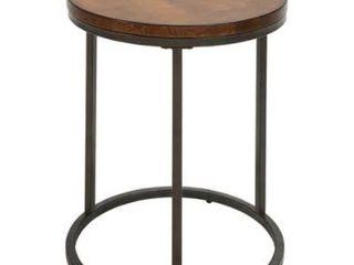 Britta 18 inch Round Thick Top Chestnut Accent Table  Retail 132 99