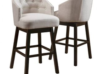 Ogden 35 inch Fabric Swivel Backed Barstool  Set of 2  by Christopher Knight Home  Minimal Damage See Photos  Retail 238 99