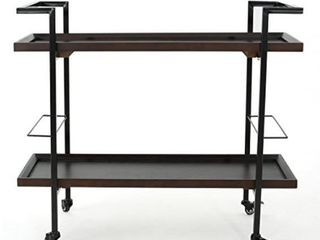 Gerard Industrial Wood Bar Cart by Christopher Knight  No Hardware to Attach Boards