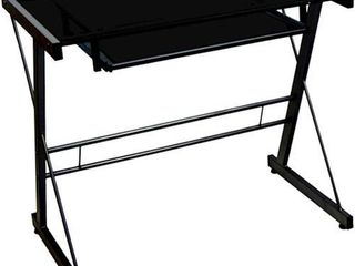 Glass Top Black Computer Desk  with Pull Out Keyboard Tray by Manor Park