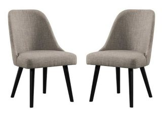 Foundry Brushed Pewter Upholstered Chairs  Set of 2  Retail 322 49