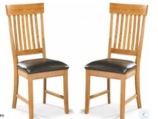 Family Dining Chestnut Slat Back Dining Chairs  Set of 2