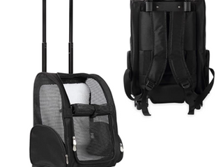 Kopeks Deluxe Backpack Pet Travel Carrier With Double Wheels   Black   large