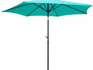 International Caravan St  Kitts 8 foot All Weather Crank and Tilt Patio Umbrella   Aqua Blue