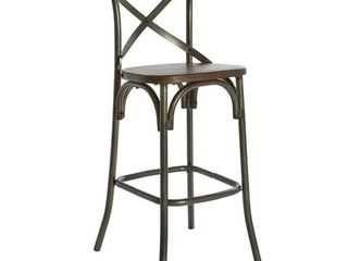 Indio 30 inch Barstool with Walnut Seat and Matte Industrial Steel Base